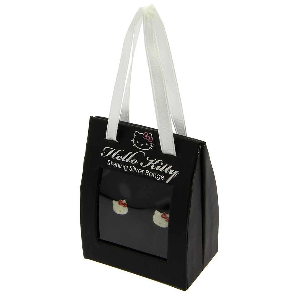 Kitty Face Hello Kitty 925 sterling silver white enamel stud earrings with red bow and Gift Box for kids and girls