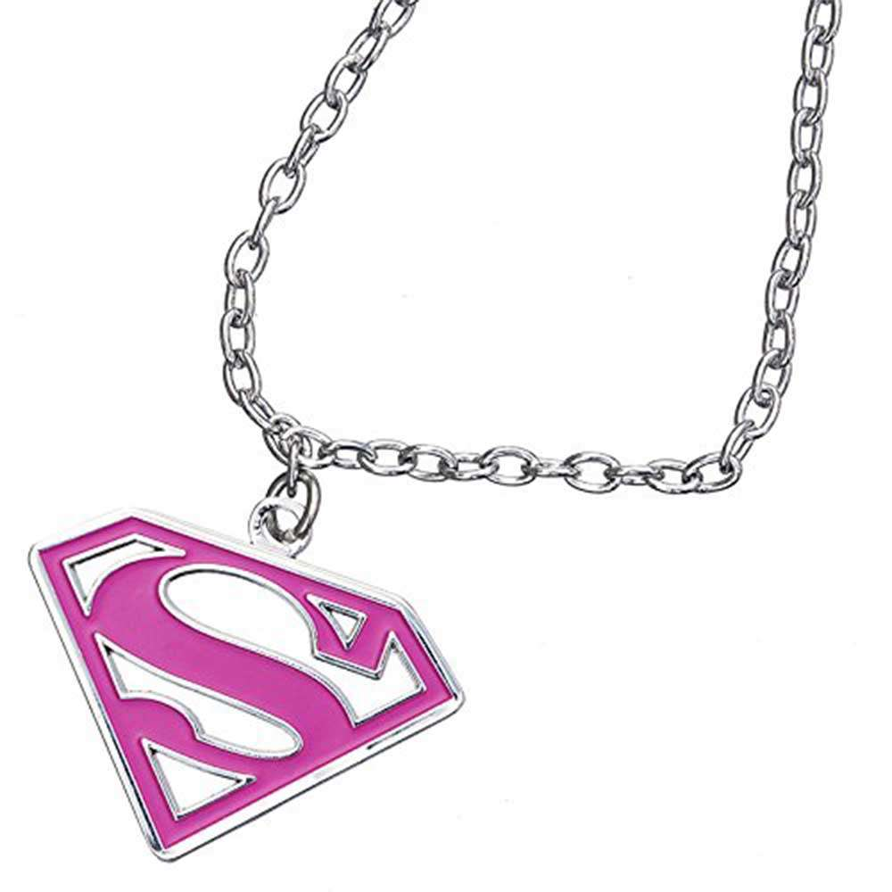 Pinky Pink Super girl - Official DC Comic Super girl Pink Pendant & Chain