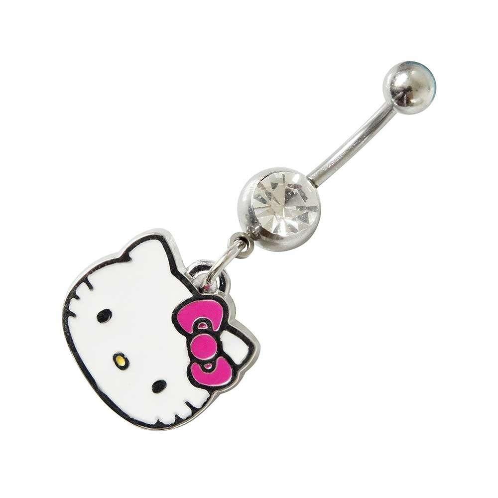Kitty Face Belly Bar- Hello Kitty White enamel belly Bar (Austrian Crystal)